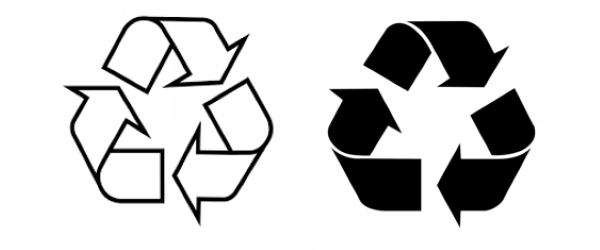 Ký hiệu tái chế màu trắng viền đen hoặc đen viền trắng thể hiện khả năng tái chế của vật liệu