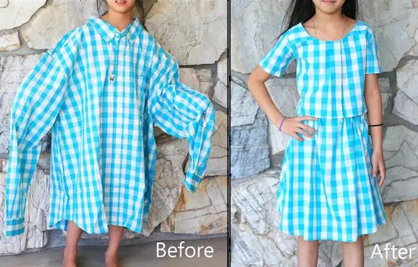 Tái chế áo sơ mi cũ của mẹ thành đồ mới cho bé.